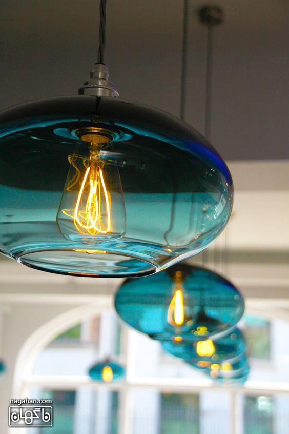 چراغ آویز مدرن و لوستر جدید آشپزخانه شیشه ای رنگ آبی روشن