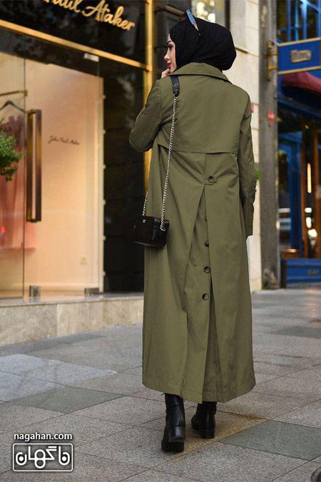 جدیدترین مدل مانتو بلند دانشجویی رنگ زیتونی برای زمستان