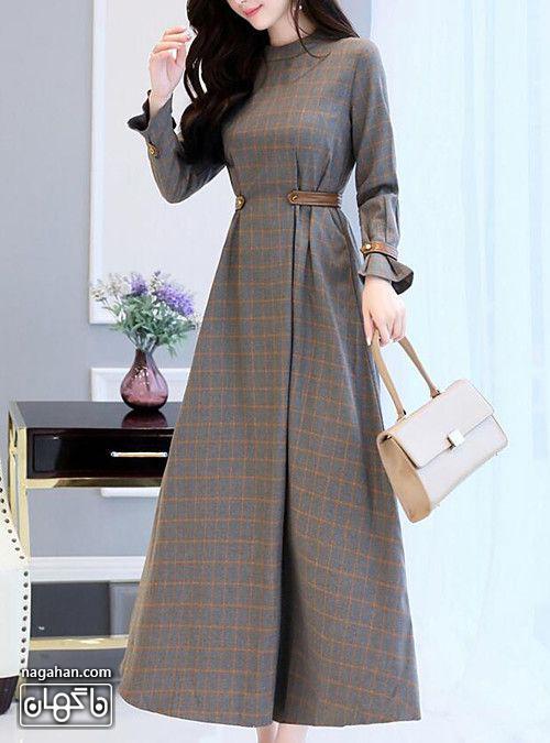 عکس مدل مانتو پیراهنی بلند دخترانه خاکستری چهارخانه