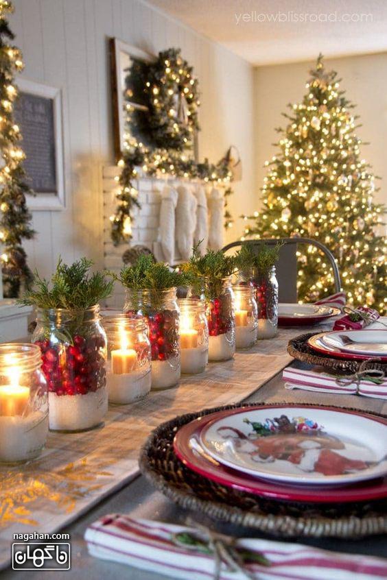 ایده چیدن میز شام کریسمس با شمع و بطری