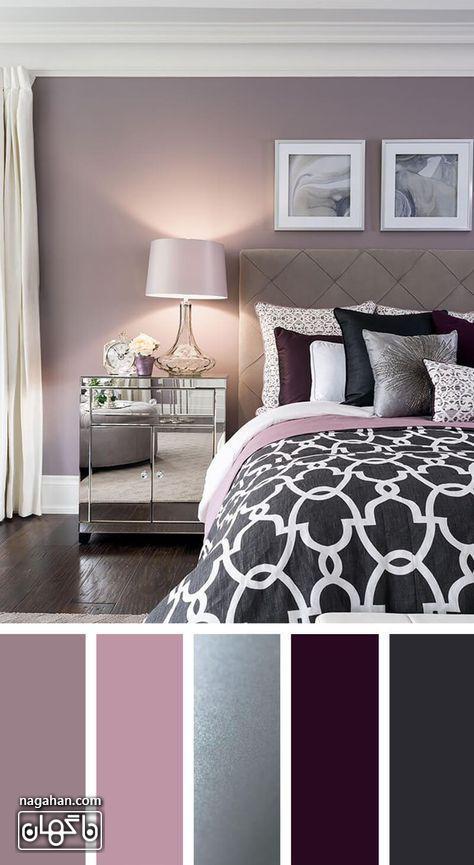 دکوراسیون مدرن اتاق خواب با طیف رنگ صورتی و بنفش و میز پاتختی آینه ای شیک و مدرن و آباژور