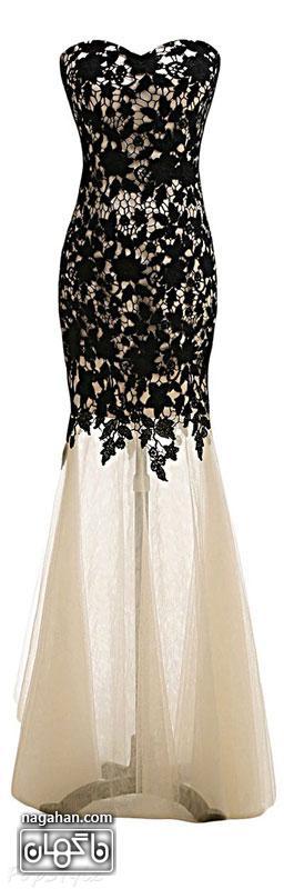 جدیدترین لباس شب زنانه | پیراهن های گیپور و سنگ دوزی شده برای مجالس نامزدی، عقد و عروسی رنگ سفید و مشکی