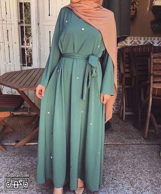 عکس مدل مانتو پیراهنی بلند دخترانه و زنانه سبز آبی