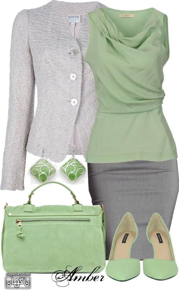 عکس کت گیپور و بلوز حریر سبز با دامن تنگ خاکستری و ست کیف و کفش سبز روشن