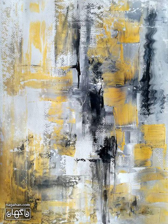 نقاشی آبستره آکریلیک با رنگ های زرد و نقره ای