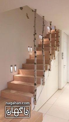 طراحی راه پله به شکل تنه های درخت