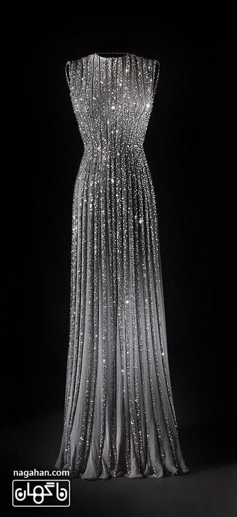 جدیدترین لباس شب زنانه | پیراهن های گیپور و سنگ دوزی شده برای مجالس نامزدی، عقد و عروسی رنگ مشکی و نقره ای