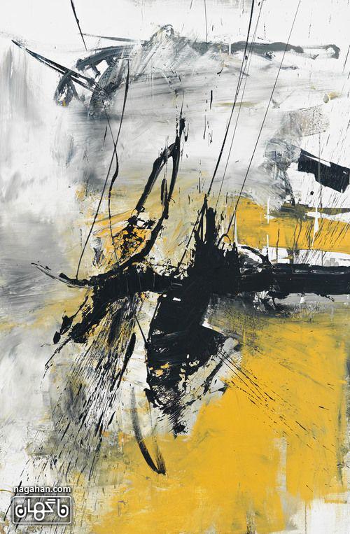 نقاشی آبستره آکریلیک با رنگ تیره و روشن