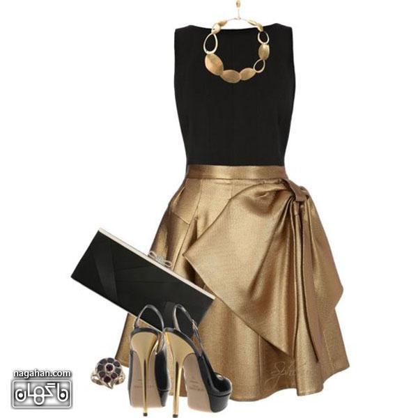 عکس بلوزمشکی و دامن طلایی با بدلیجات و کیف و کفش مشکی طلایی