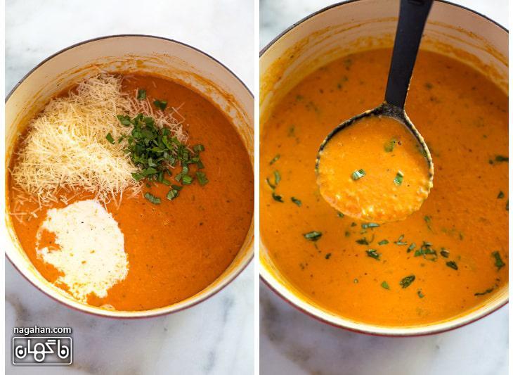 طرز تهیه سوپ خامه ای گوجه فرنگی و ریحان
