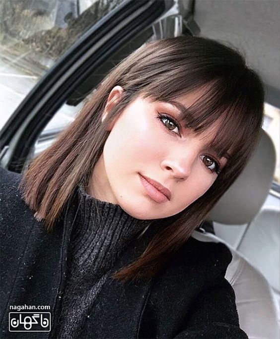 مدل مو کوتاه چتری با رنگ تیره