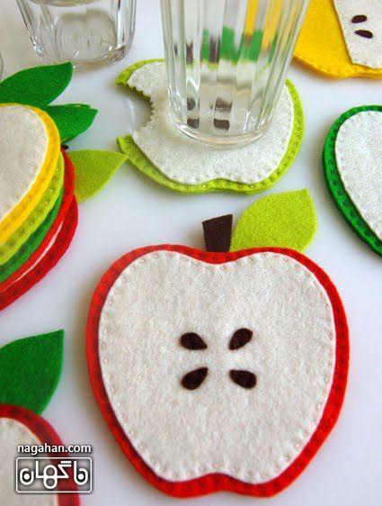 کاردستی زیر لیوانی طرح میوه با نمد ویژه شب یلدا