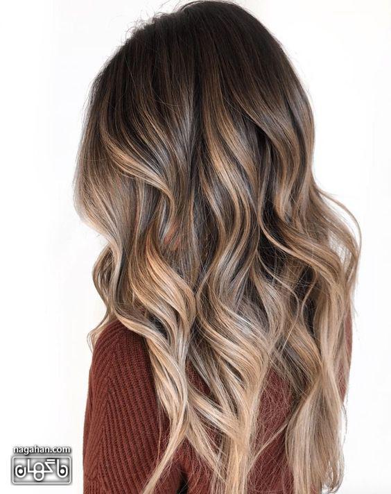 مدل مو بلند و رنگ آمبره روشن