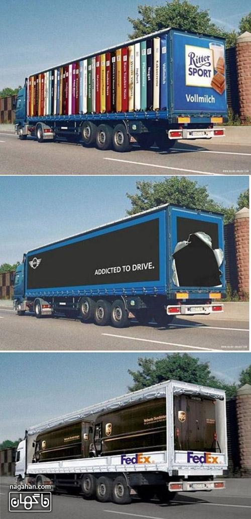 عکس از تبلیغات نوآورانه و جذب کننده سه بعدی روی تریلی و کامیون
