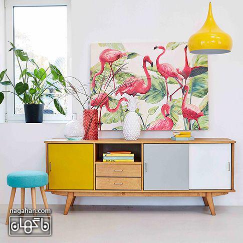 جدیدترین مدل میز کنسول رنگی با تابلو فلامینگو