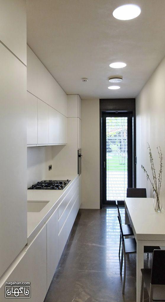 طراحی ساده و شیک و مدرن آشپزخانه خیلی کوچک