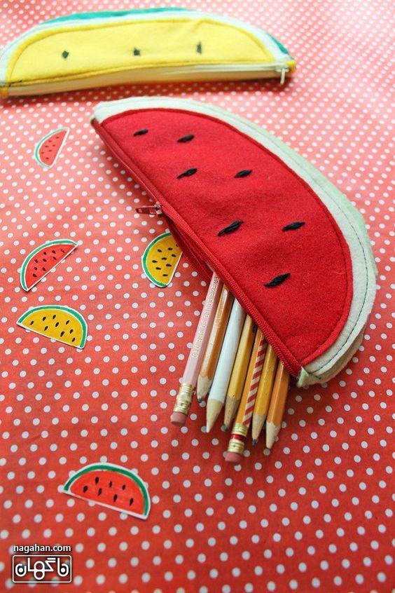 کاردستی جامدادی طرح هندوانه و میوه های شب یلدا