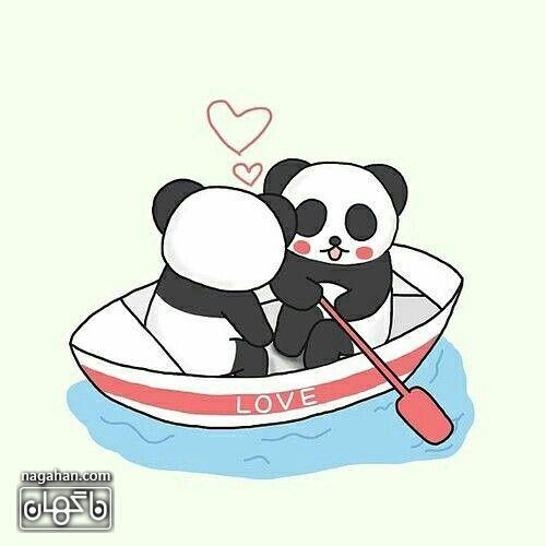 عکس پروفایل کارتونی عاشقانه دو پاندا در قایق