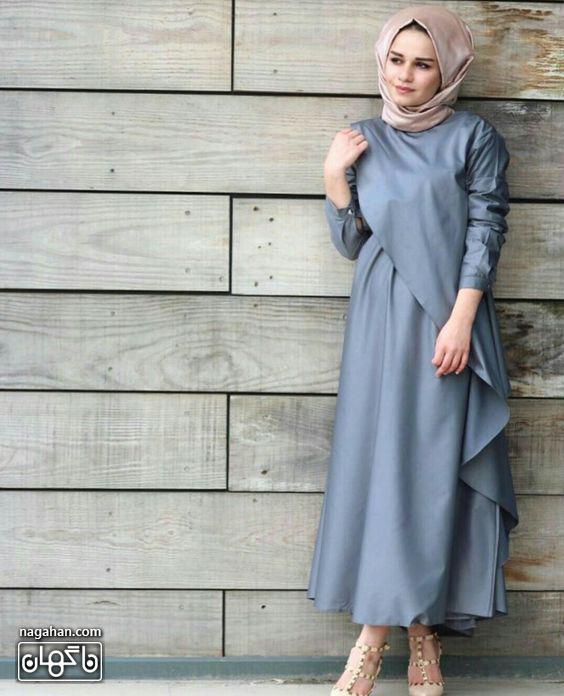 عکس مدل مانتو پیراهنی بلند دخترانه آبی طوسی