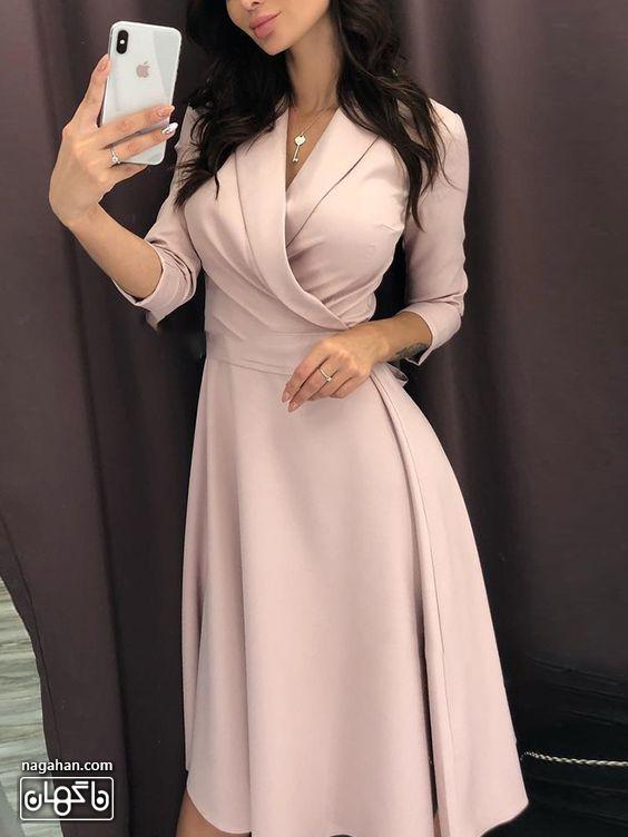 عکس مدل مانتو پیراهنی اندامی بلند دخترانه صورتی ملایم