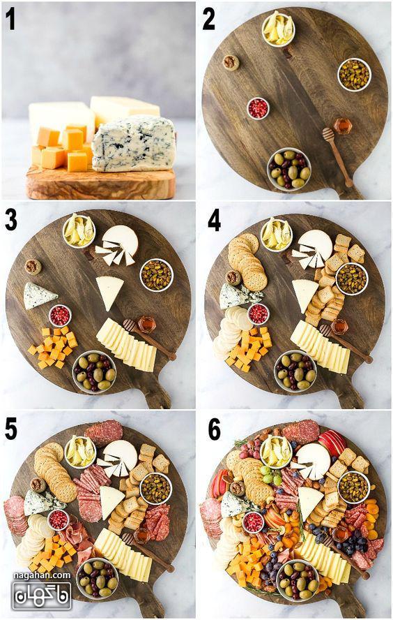 میز مزه با انواع پنیر و کالباس و زیتون