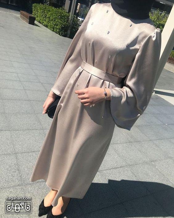 عکس مدل مانتو پیراهنی بلند دخترانه و زنانه اندامی ساتن مجلسی