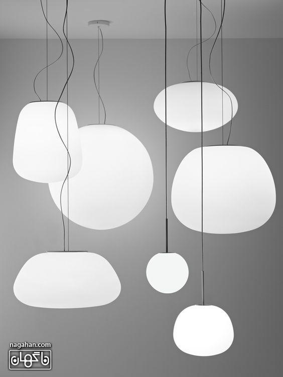 چراغ آویز و لوستر مدرن و جدید رنگ سفید طرح حباب