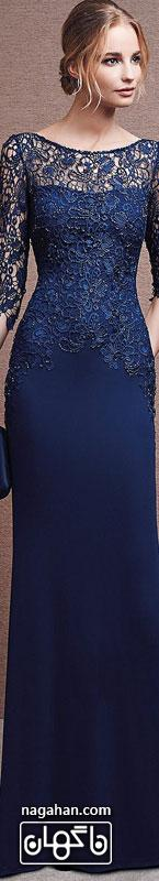 جدیدترین لباس شب زنانه | پیراهن های گیپور و سنگ دوزی شده برای مجالس نامزدی، عقد و عروسی گیپور رنگ سورمه ای