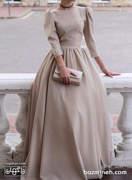 عکس مدل مانتو پیراهنی بلند دخترانه و زنانه اندامی نسکافه ای روشن