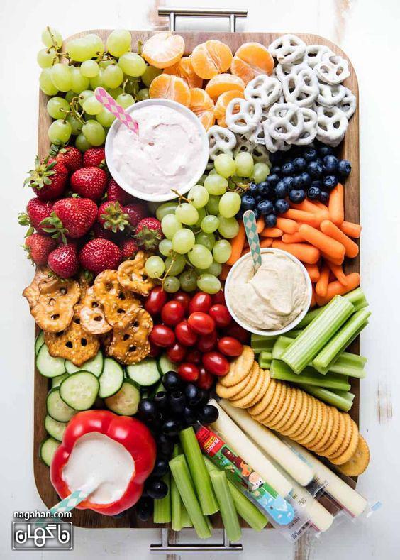 سینی مزه سلامت با میوه و اسنک