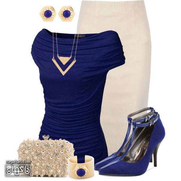 عکس لباس ست - بلوز و دامنمجلسی شیک به همراه کیف و کفش و بدلیجات