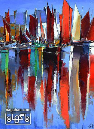 نقاشی آبستره آکریلیک و قایق های بندر