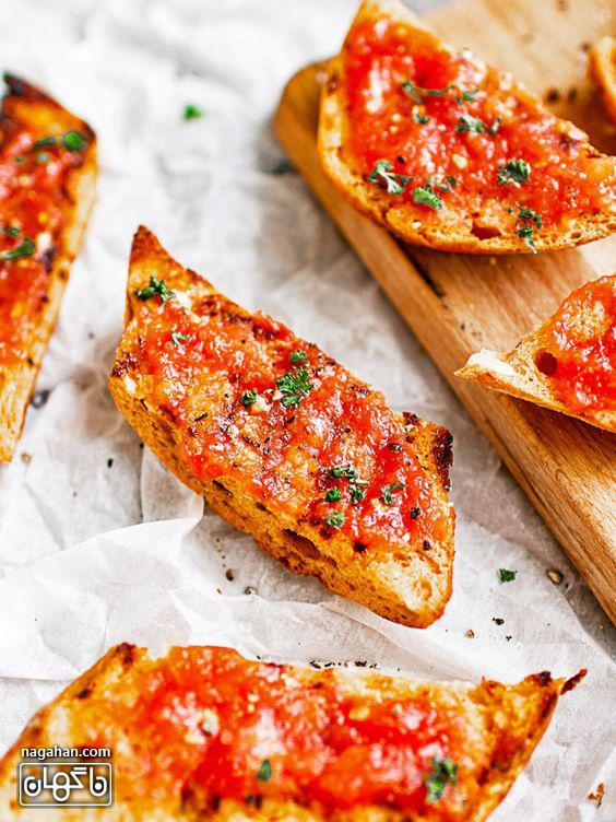 نان تست اسپانیایی با گوجه فرنگی سایت ناگهان