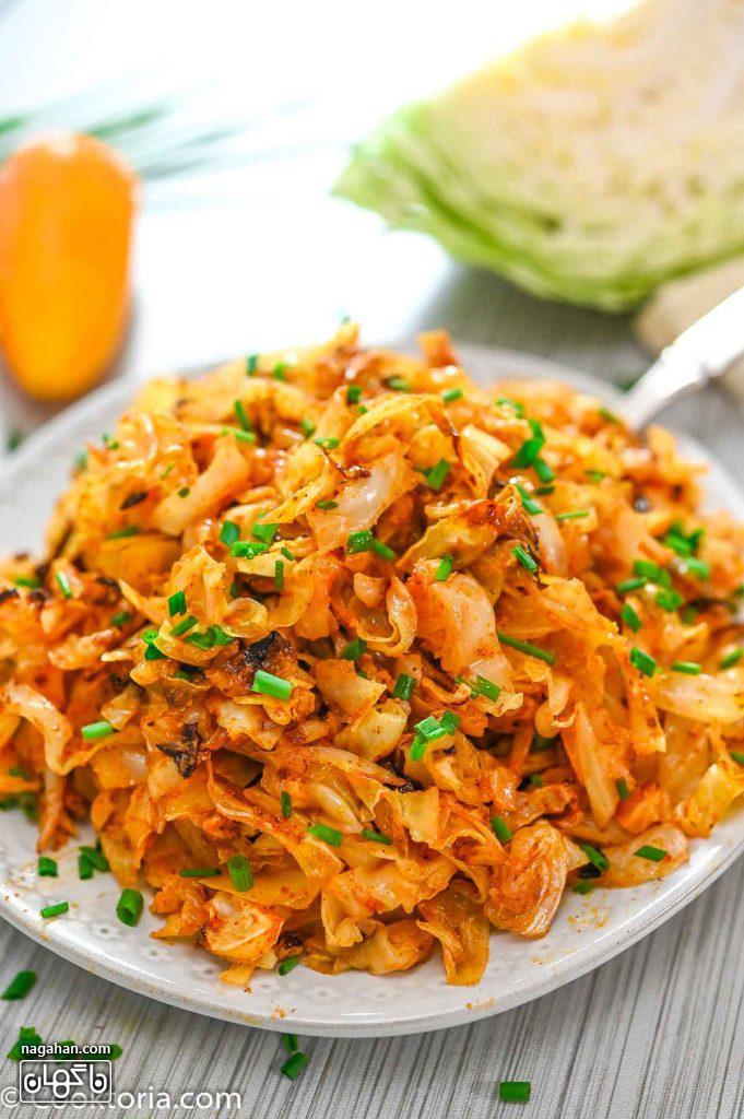 خوراک کلم پخته مناسب برای دورچین بشقاب | پیش غذا رژیمی و گیاهی برایگیاهخواران