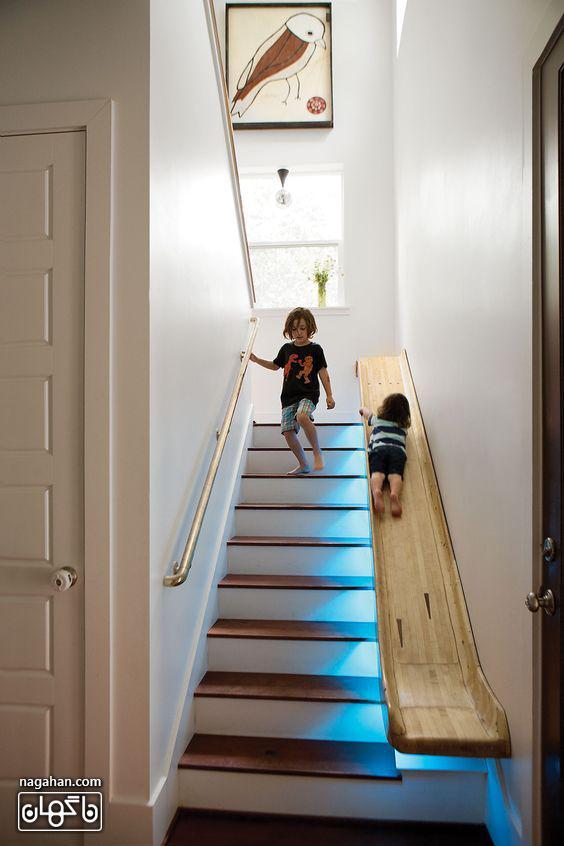 طراحی متفاوت و جدید راه پله سرسره ای