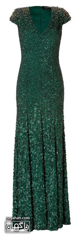 جدیدترین لباس شب زنانه | پیراهن های گیپور و سنگ دوزی شده برای مجالس نامزدی، عقد و عروسی رنگ سبز زمردی