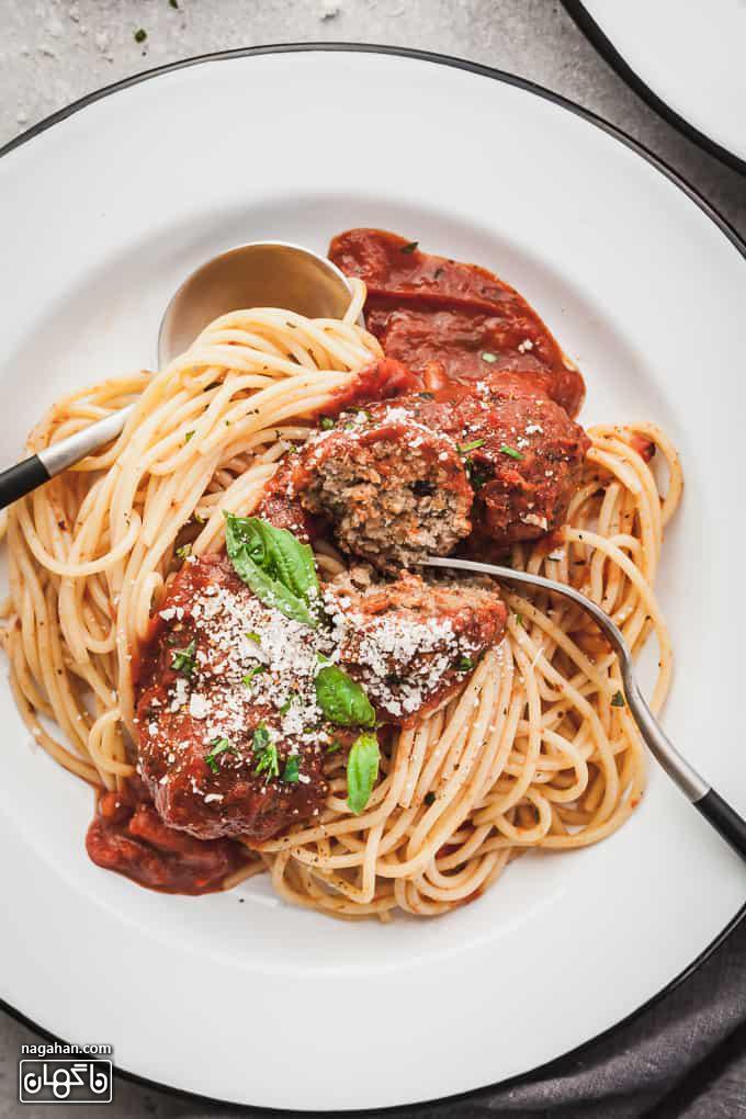 کوفته قلقلی بادمجان با اسپاگتی | غذای گیاهی خوشمزه و متنوع