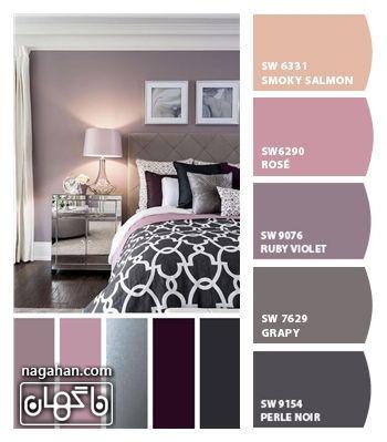 عکس دکوراسیون اتاق خواب با ترکیب رنگ طوسی ، صورتی و بنفش