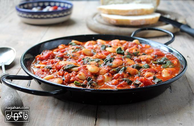 طرز تهیه خوراک لوبیای سفید اسپانیایی