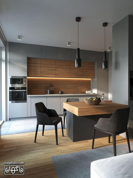 طراحی شیک آشپزخانه با میز ناهار خوری