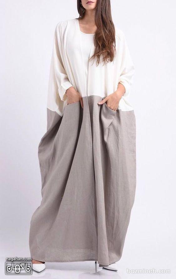 عکس مدل مانتو عبایی دو رنگ بلند با جیب