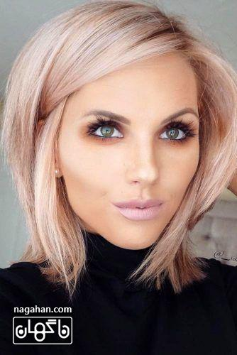 مدل مو کوتاه شیک صورتی بلوند