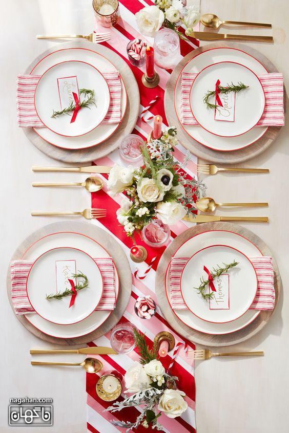 - تم قرمز و سفید -ایده چیدن میز شام کریسمس 2021