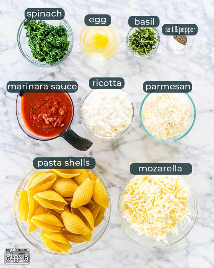 مواد لازم برای پاستا صدفی شکم پر