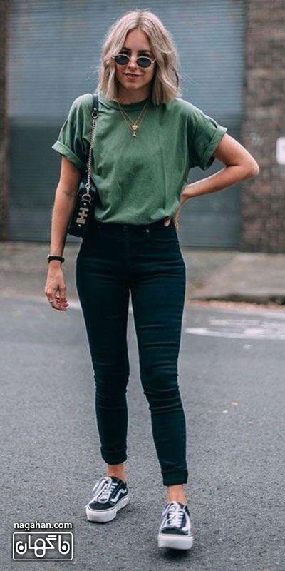 مدل لباس اسپرت و راحت دخترانه تی شرت و شلوار جین
