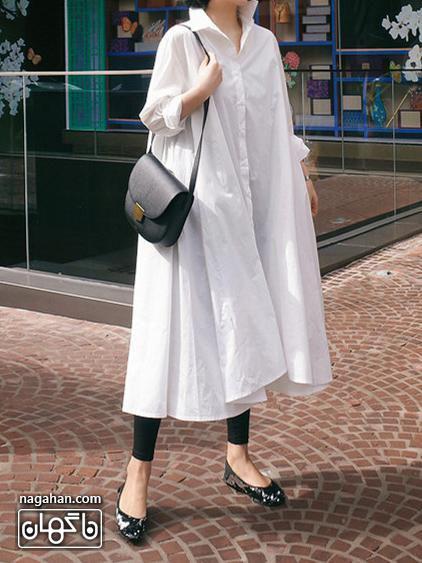 عکس مدل مانتو خنک و گشاد رنگ سفید