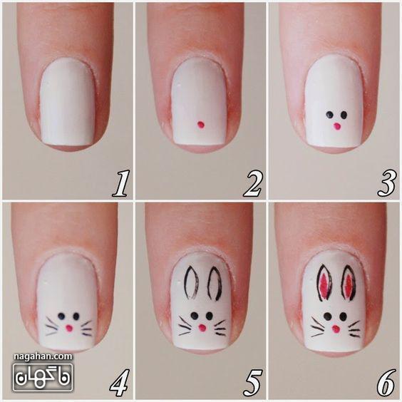 آموزش مراحل مانیکور ناخن با طرح خرگوش