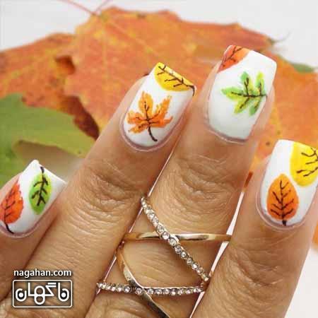 طرح ناخن با برگ پاییزی