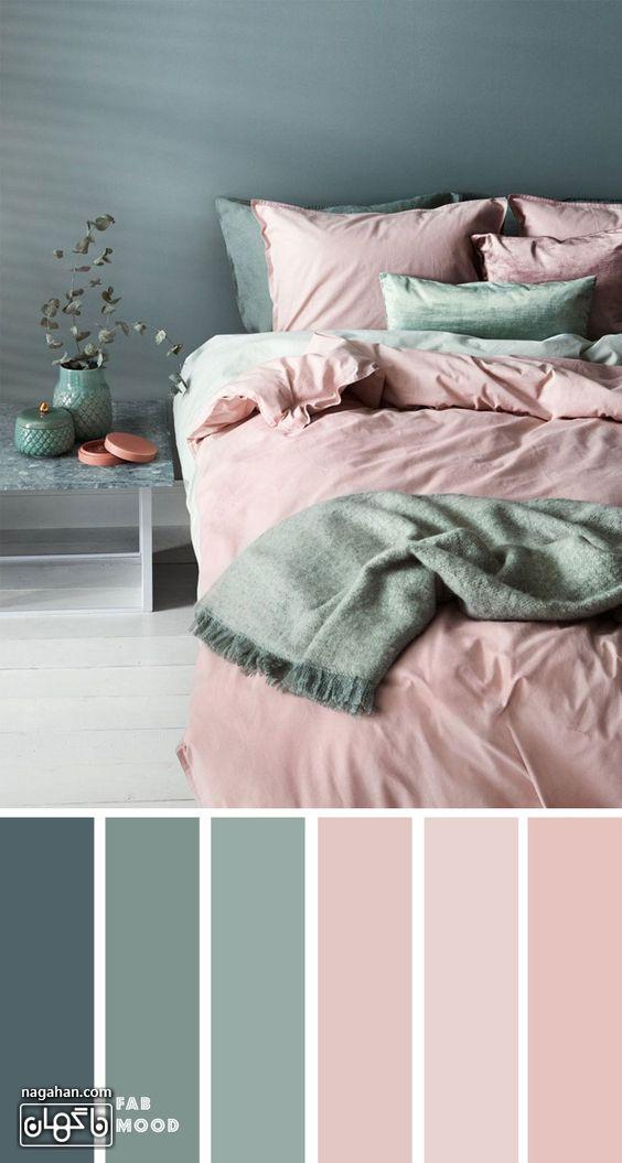 عکس دکوراسیون اتاق خواب با ترکیب رنگ طوسی ، صورتی ملایم و اکسسوری
