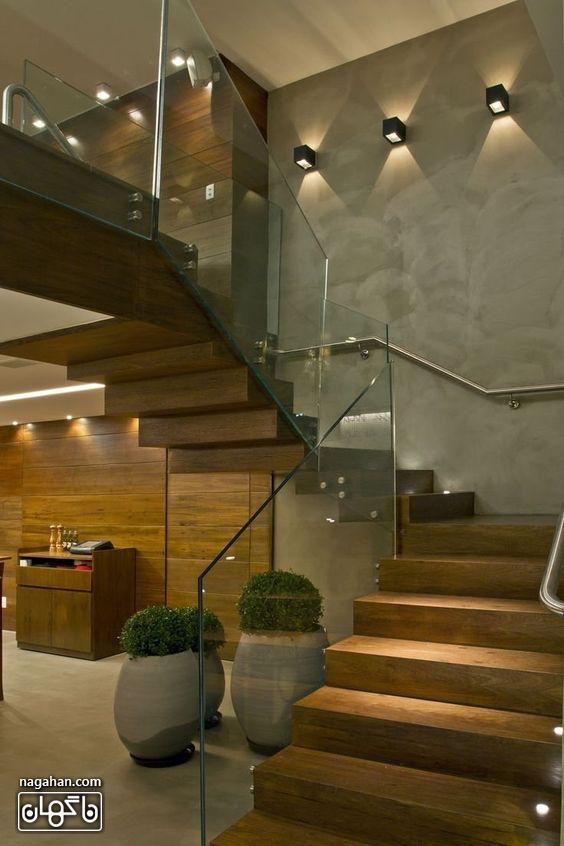 طراحی شیک راه چله داخلی با شیشه و نور